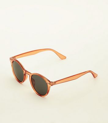 Bright Orange Round Tinted Sunglasses