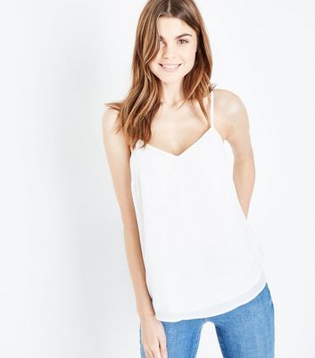 Tall Off White Strappy Back Cami