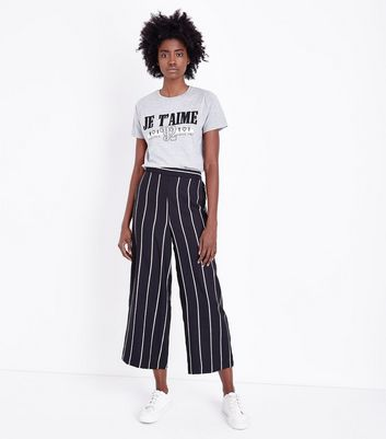 Tall   Jupe Culotte Noire à Rayures by New Look