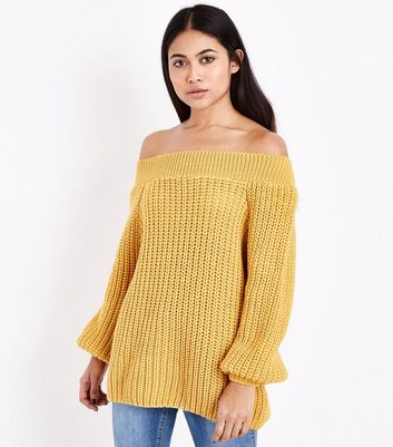 Petite Mustard Yellow Bardot Neck Jumper