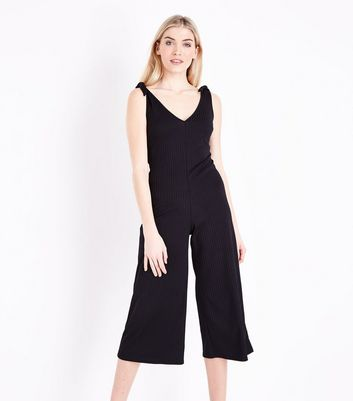 Black Ribbed Tie Shoulder Jumpsuit