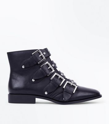 Black Stud Buckle Ankle Boots