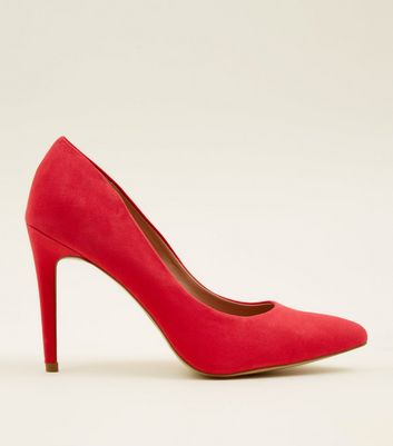 Deep Pink Suedette Pointed Court Shoes