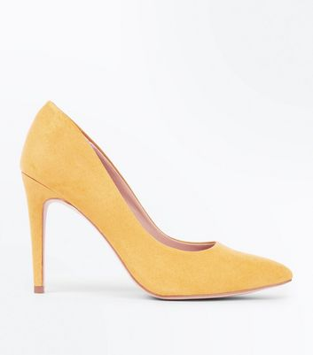 Mustard Yellow Suedette Pointed Court Shoes