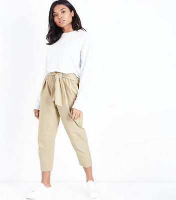 Petite Stone Cotton Paperbag Waist Trousers
