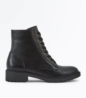 Black Chunky Lace Up Boots