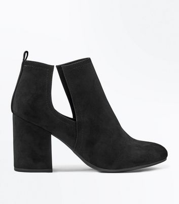 Black Suedette Cut Out Block Heel Boots