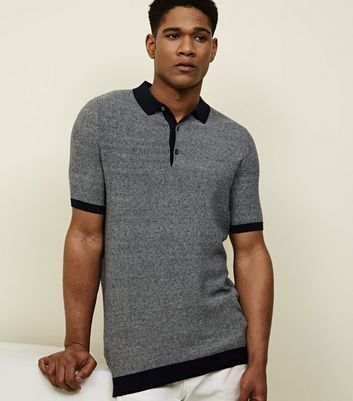 Navy Jacquard Knitted Polo Shirt
