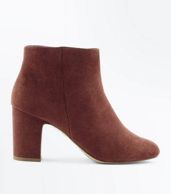 Wide Fit Rust Suedette Block Heel Ankle Boots