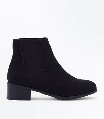 Girls Black Suedette Brogue Chelsea Boots
