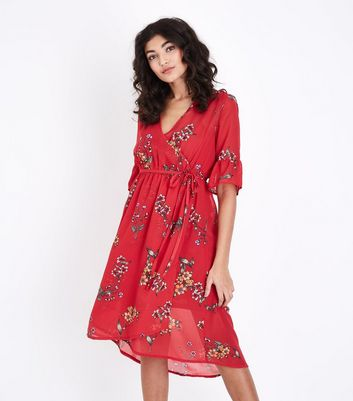 Red Floral Chiffon Wrap Front Midi Dress