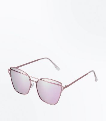 Pink Mirror Lens Bar Front Sunglasses