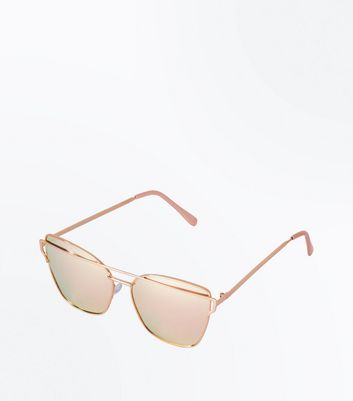 Rose Gold Mirror Lens Bar Front Sunglasses