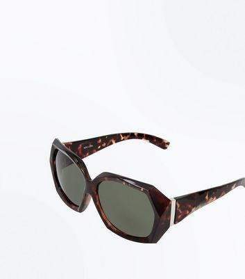 Brown Tortoiseshell Geometric Frame Sunglasses