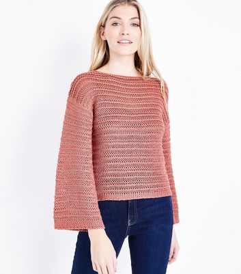 Coral Flare Sleeve Stripe Knit Jumper