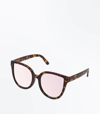 Dark Brown Mirror Lens Cat Eye Sunglasses