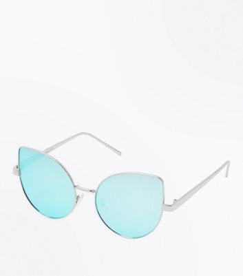 Turquoise Mirror Lens Cat Eye Sunglasses