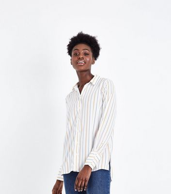 Mustard Stripe Step Hem Shirt