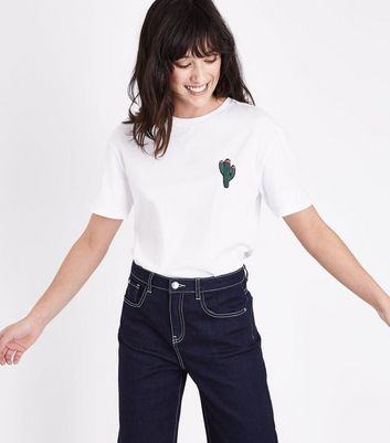 White Cactus Embroidered T-Shirt