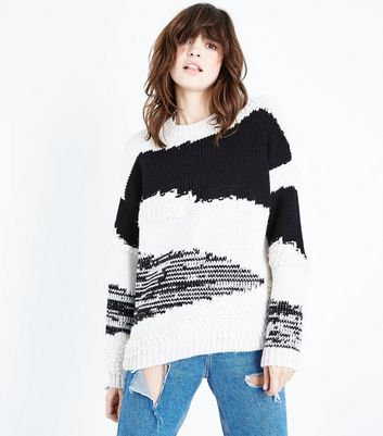 Off White Patchwork Loop Knit Jumper