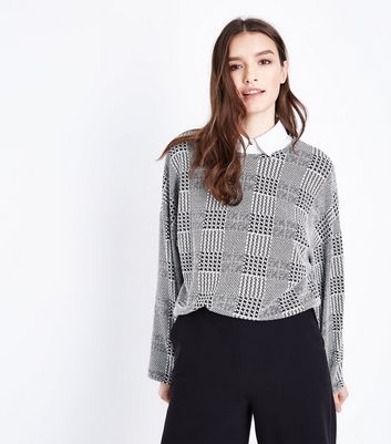 Grey Check Long Sleeve Top