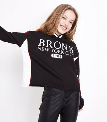 Teens Black Bronx New York City Slogan Stripe Sleeve Hoodie