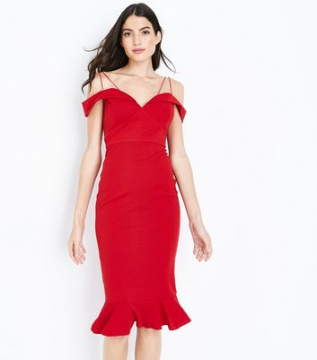AX Paris Red Sweetheart Neck Frill Hem Dress