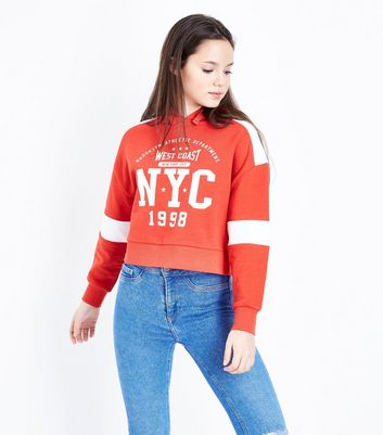 Teens Red NYC 1998 Stripe Sleeve Hoodie