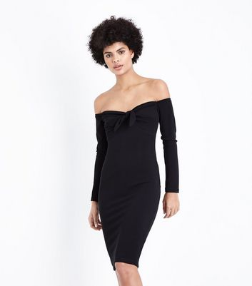 AX Paris Black Tie Front Bardot Neck Dress