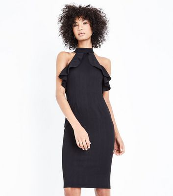 AX Paris Black Frill Halterneck Midi Dress