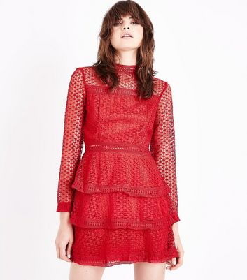 AX Red Black Tiered Crochet Dress