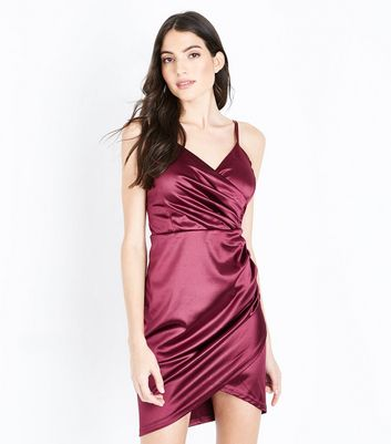 AX Paris Plum Satin Wrap Front Bodycon Dress