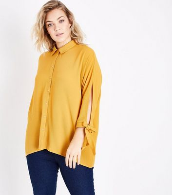 Curves Mustard Yellow Batwing Tie Sleeve Shirt