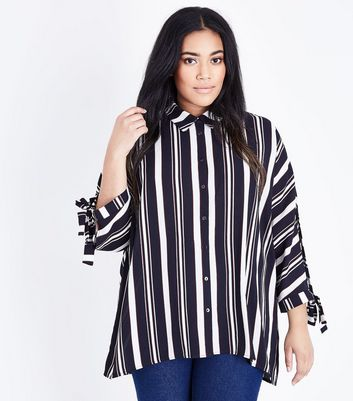 Curves Black Stripe Tie Batwing Sleeve Shirt