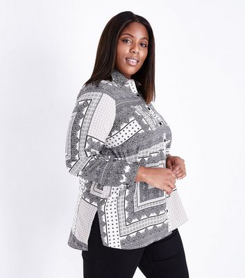 Curves White Monochrome Patchwork Pattern Shirt