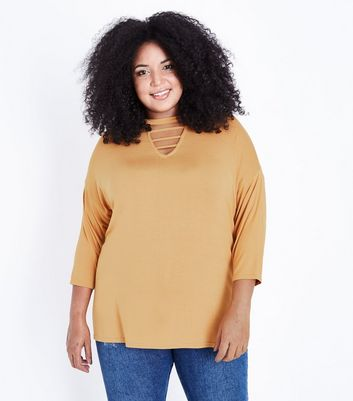 Curves Mustard Cut Out Neck T-Shirt