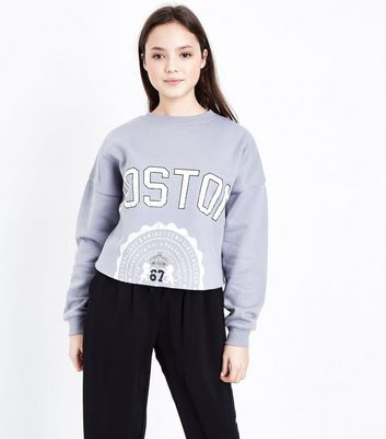 Girls Pale Blue Boston Print Raw Hem Sweatshirt