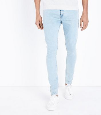 Pale Blue Bleach Wash Stretch Skinny Jeans