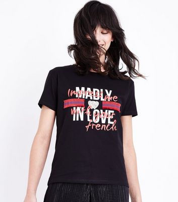 Black Ribbon Trim Love Slogan T-Shirt