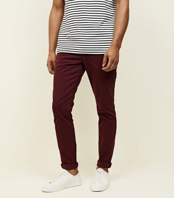 Burgundy Skinny Stretch Chino Trousers