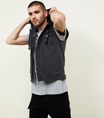 Grey Denim Sleeveless Hooded Jacket