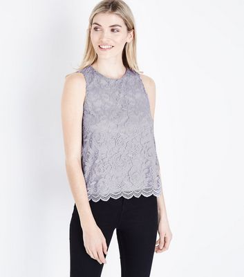 Grey Floral Lace Sleeveless Top