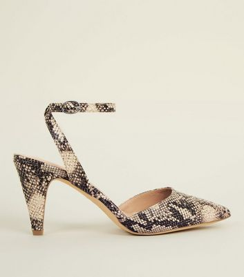 Black Faux Snakeskin Pointed Cone Heel Courts