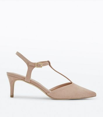 Nude Suedette T-Bar Pointed Kitten Heels