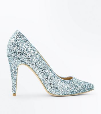 Mint Green Glitter Pointed Court Shoes