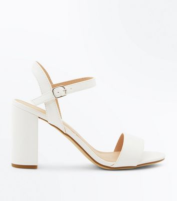 White Ankle Strap Block Heel Sandals