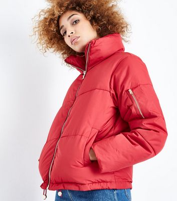 QED Red Funnel Neck Cropped Puffer Jacket | New Look
