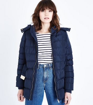 QED Navy Belted Puffer Jacket