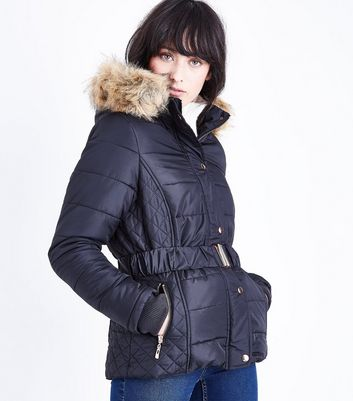 QED Black Faux Fur Trim Belted Puffer Jacket