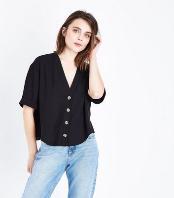 Black  V Neck Boxy Shirt
